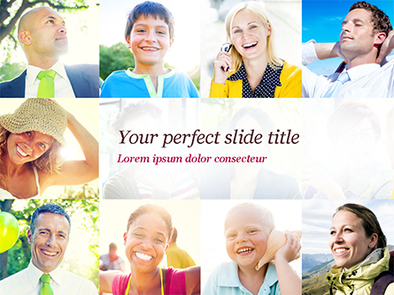 Multiethnic Diverse Cheerful People Presentation Template, Master Slide
