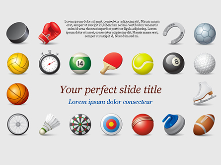 Sports Equipment Icons Presentation Template, Master Slide