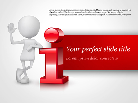 3D Person Standing Next to Letter Presentation Template, Master Slide