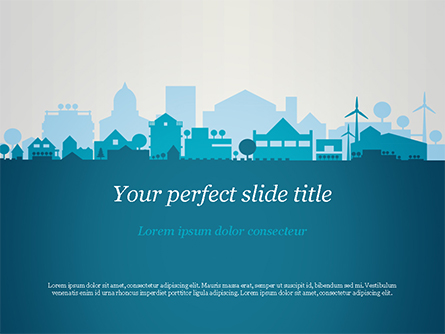 Small Town Skyline Presentation Template, Master Slide