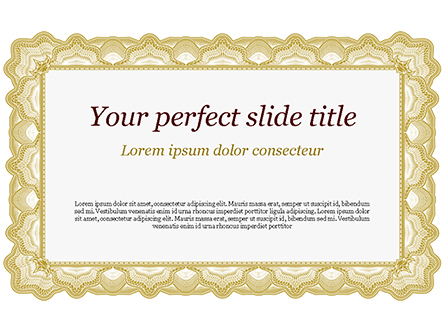 Certificate with Sinuous Pattern Presentation Template, Master Slide