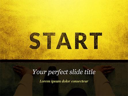 Businessman Standing in Start Position Presentation Template, Master Slide