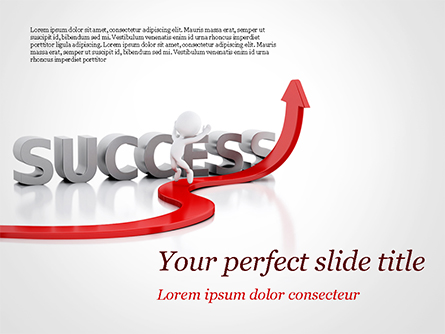 Concept of success and 3D Man Presentation Template, Master Slide