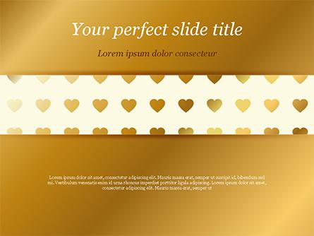 Background of Golden Hearts Presentation Template, Master Slide