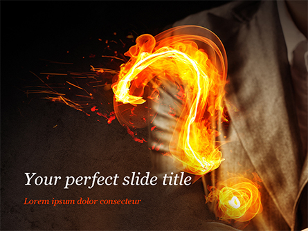 Flaming Question Mark Presentation Template, Master Slide