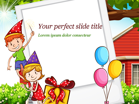Children Having Birthday Party and Photo Frame Presentation Template, Master Slide