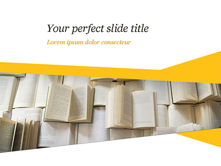 Open Books Piled up Presentation Template, Master Slide