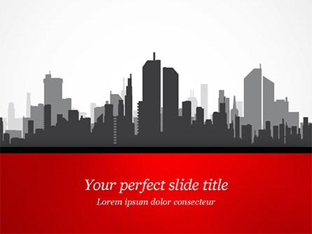 Silhouette of the City in Gray Shades Presentation Template, Master Slide