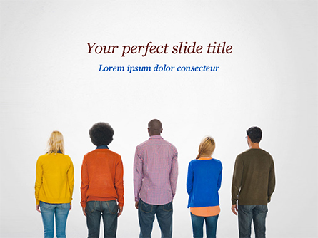 Rear View of Multi-Ethnic Group of People Presentation Template, Master Slide