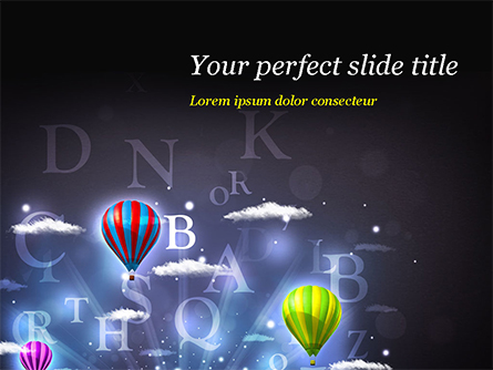 Glowing Fantasy Clouds and Balloons Presentation Template, Master Slide