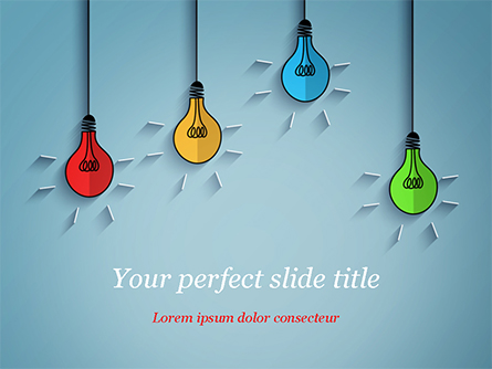 Colored Light Bulbs Presentation Template, Master Slide
