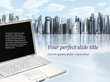 Laptop on Cityscape Background Presentation Template, Master Slide