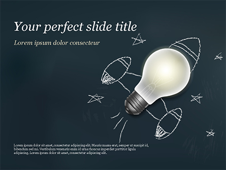 Creative Rocket Light Bulb Presentation Template, Master Slide