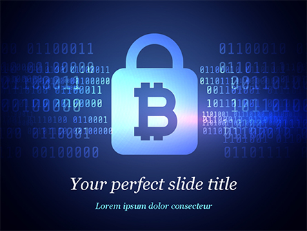 Digital Bitcoin Symbol inside Secure Lock Presentation Template, Master Slide