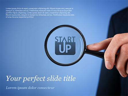 Word Startup Under Magnifier Presentation Template, Master Slide