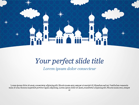 White Silhouette of Mosque Presentation Template, Master Slide