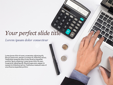 Man Working with Laptop and Calculator Presentation Template, Master Slide