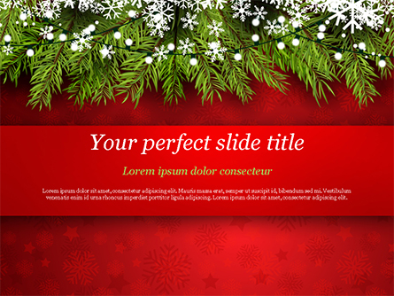 Christmas Tree Branches and Snowflakes Presentation Template, Master Slide