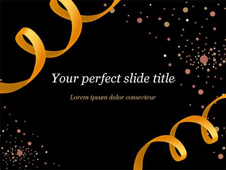 Golden Festive Ribbons Presentation Template, Master Slide