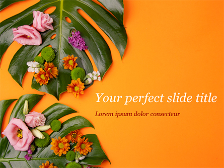 Monstera Leaves and Flowers Presentation Template, Master Slide