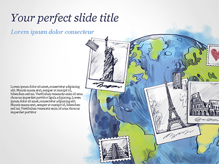 World with Famous Monuments in Hand Drawn Style Presentation Template, Master Slide