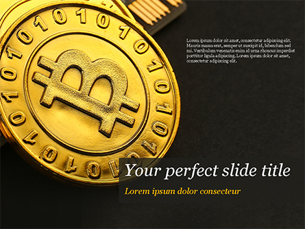 Bitcoins on Circuit Board Presentation Template, Master Slide