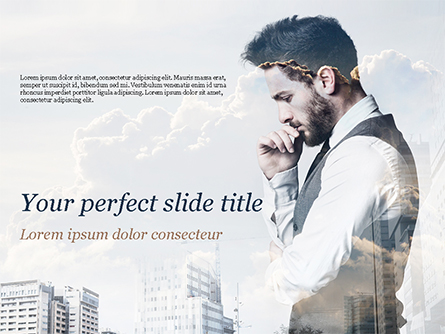 Young Businessman and City Presentation Template, Master Slide
