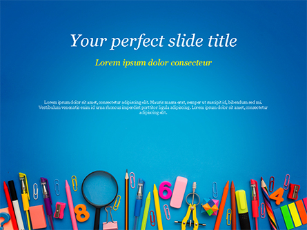 School Supplies on Blue Background Presentation Template, Master Slide