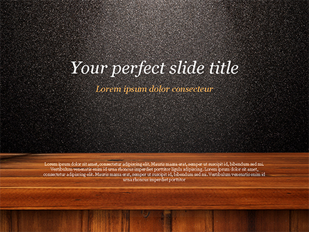 Glossy Black Surface with Wooden Plank Presentation Template, Master Slide