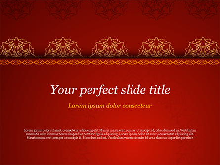 Burgundy Background with Oriental Mandala Pattern Presentation Template, Master Slide