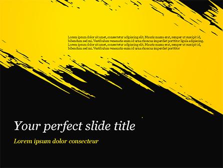 Yellow Brushstroke on Black Background Presentation Template, Master Slide