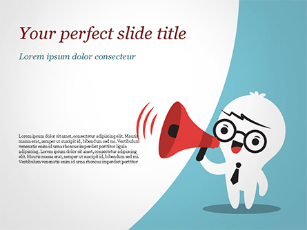 Man with Megaphone Presentation Template, Master Slide