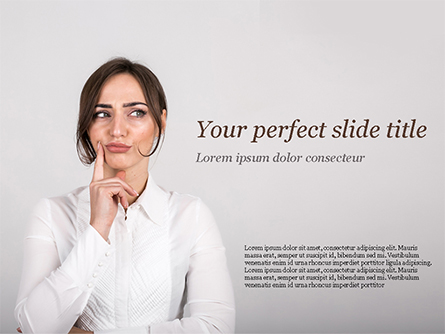 Thoughtful Businesswoman Presentation Template, Master Slide