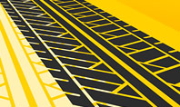Tire Tracks on Yellow Background Presentation Template