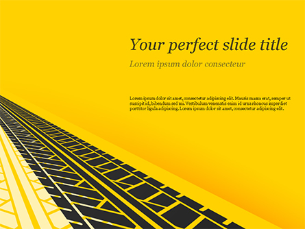 Tire Tracks on Yellow Background Presentation Template, Master Slide