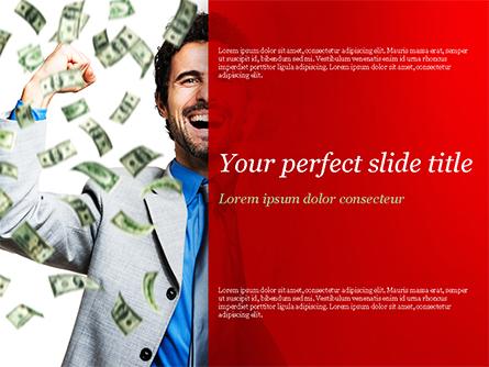Man Enjoying Money Rain Presentation Template, Master Slide