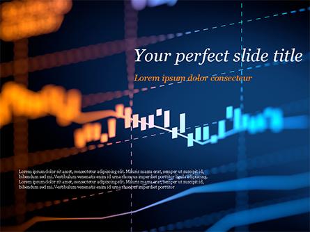 Candlestick Chart on Blue Background Presentation Template, Master Slide