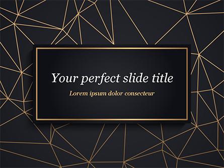 Black Background with Golden Triangular Grid and Frame Presentation Template, Master Slide