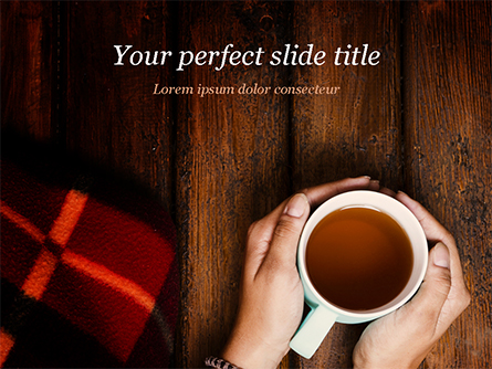 Cup of Tea and Warm Winter Blanket Presentation Template, Master Slide