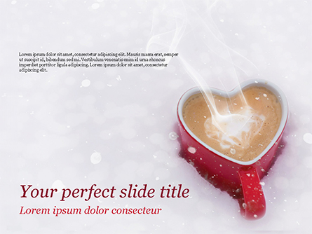 Heart Shaped Coffee Mug Presentation Template, Master Slide