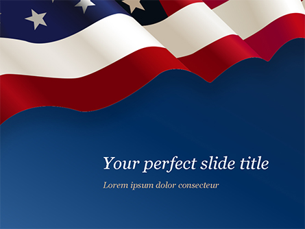 USA Flag on Blue Background Presentation Template, Master Slide