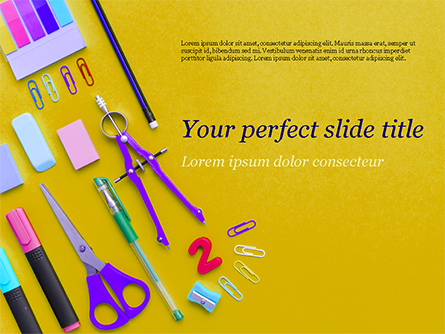 Stationery on Yellow Background Presentation Template, Master Slide