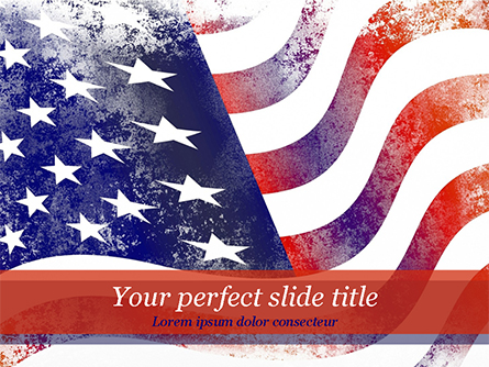 Aged USA Flag Presentation Template, Master Slide