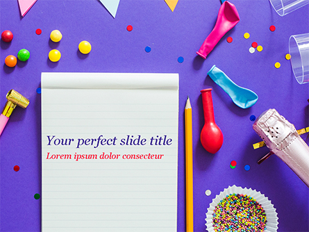 Notebook and Party Decorations Presentation Template, Master Slide