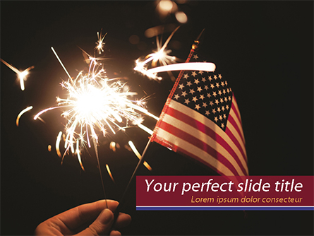 Hand with Sparkler and USA Flagpole Presentation Template, Master Slide