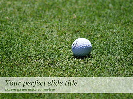 Golf Ball on Grass Presentation Template, Master Slide