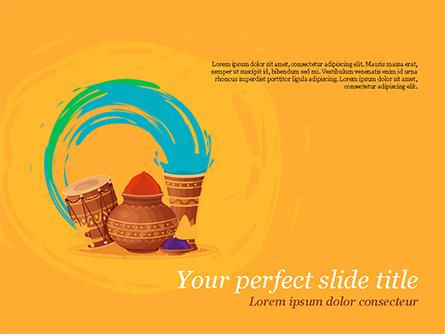 Holi Festival Accessories Presentation Template, Master Slide