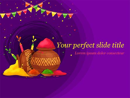 Holi Festival Jugs Presentation Template, Master Slide