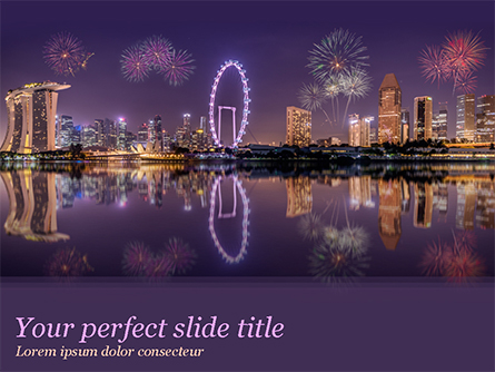 Singapore City Skyline at Night Presentation Template, Master Slide