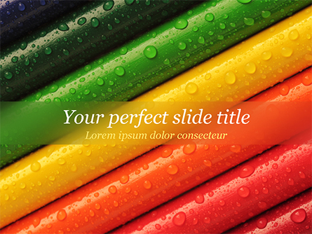Colored Pencils with Water Drops Presentation Template, Master Slide